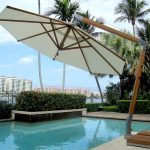 Bambrella 11.5' Side Wind Levante Round Bamboo Cantilever Umbrella
