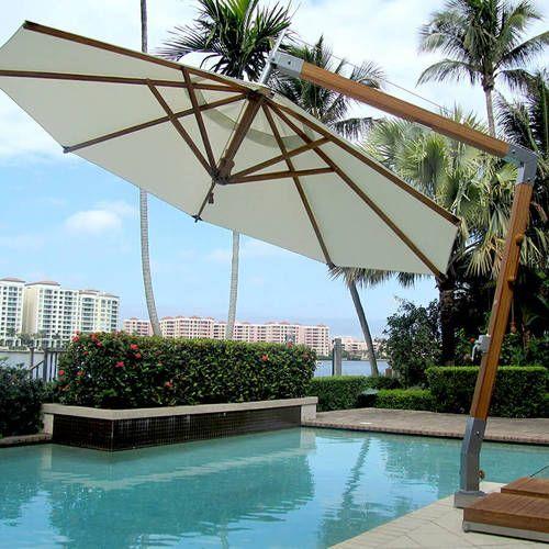 Bambrella 11.5′ Side Wind Levante Round Bamboo Cantilever Umbrella