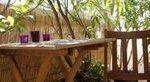 Bambus-Dosen-Bambus-Tisch-rechteckigen-Holz-Stuhl  - small balcony #kleiner Gart...