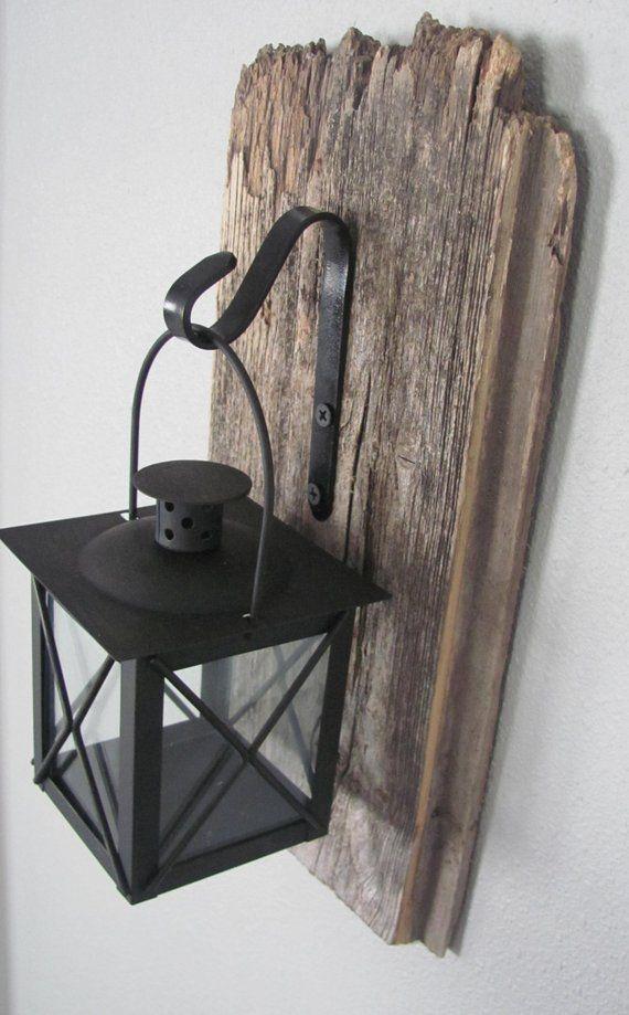Barnwood Hanging Lantern – Rustic wall decor, hanging light, wall sconce, salvaged wood decor – Today Pin