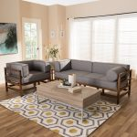 Baxton Studio Shaw Upholstered 2-Piece Sofa Set