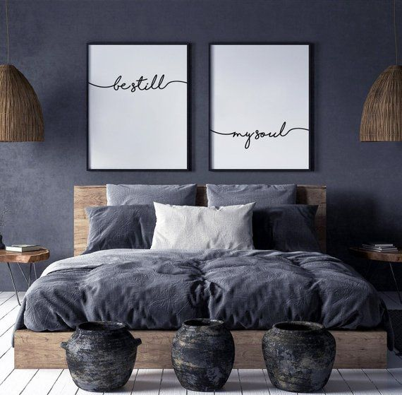 Be Still My Soul Print, Be Still My Soul Poster, Set of 2 prints, Bedroom Wall Decor, Scandinavian Decor, Monochrome Typography, Text Poster