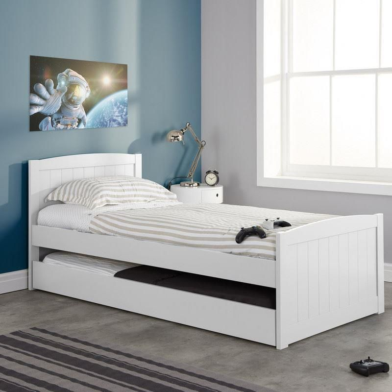 Beckton White Wooden Bed and Trundle Guest Bed Frame – 3ft Single