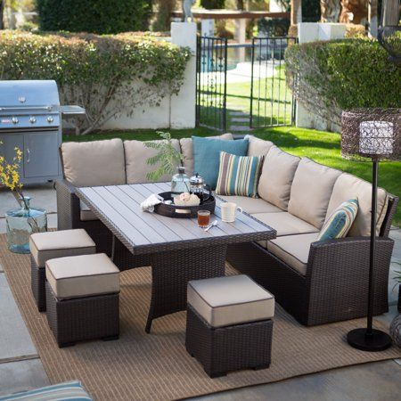 Belham Living Monticello All-Weather Wicker Sofa Sectional Patio Dining Set with Beige Cushions – Walmart.com