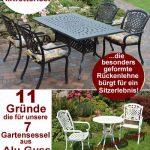 Bequeme, wetterfeste Gartenmöbel aus Alu-Guss sind stabil, stapelbar und pflegeleicht und  dekorativ