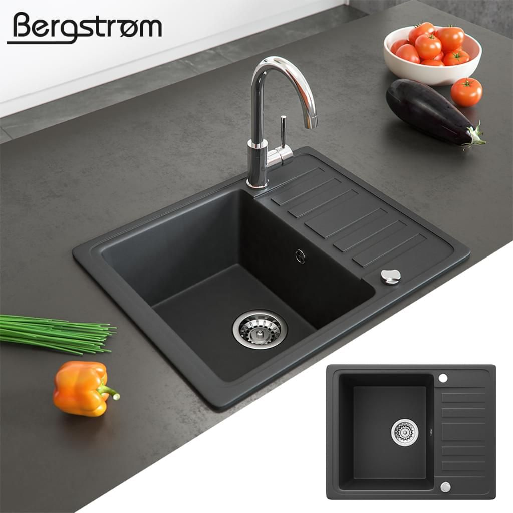 Bergström Granit Spüle Küchenspüle Einbauspüle Spülbecken 575x460mm Schwarz