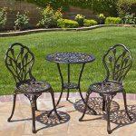 Best Choice Products Outdoor Patio Furniture Tulip Design Cast Aluminum 3 Piece Bistro