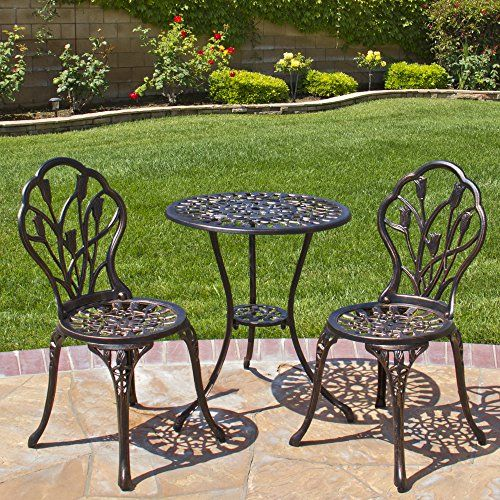 Best Choice Products Outdoor Patio Furniture Tulip Design Cast Aluminum 3 Piece Bistro