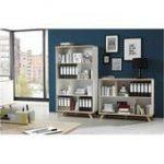 Bibliothèque grise - étagère moderne pour livres: portes en gris - 301 x 233 x 35 cm, personn...