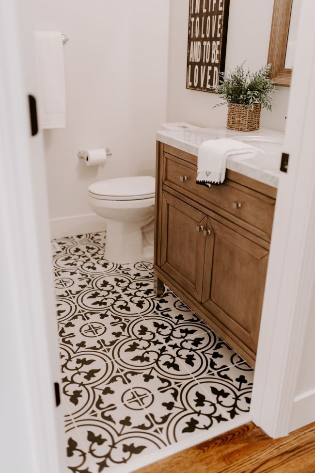 Black and white tile with a walnut vanity are perfection in this modern farmhouse style renovation | home in 2018 | Pinterest | Bathroom, Bathroom ren