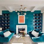 Blaugrünes Wohnzimmer Art Deco gemütliches Wohnzimmer Schaffell modernes Sofa ...