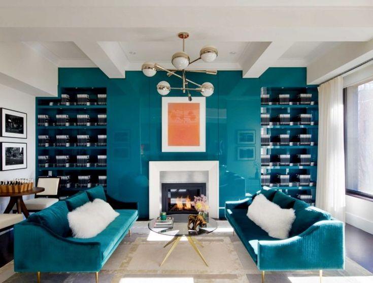 Blaugrünes Wohnzimmer Art Deco gemütliches Wohnzimmer Schaffell modernes Sofa …
