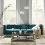 Blaugrünes kapitoniertes Sofa gemütliches Wohnzimmer luxuriöses Zuhause #kitc...