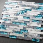 Blue shell tile glass mosaic kitchen backsplash tiles SGMT026 grey stone bathroo...