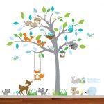 Boho gemusterte Wand Aufkleber Baum, schöne bunte gemusterte Waldbaum, Liebling kleine Eulen, Vögel und Schmetterlinge