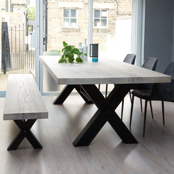Bolt Solid Wood & Metal Dining Table                                            …