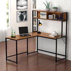 Bourdeau L-Shape Computer Desk with Hutch