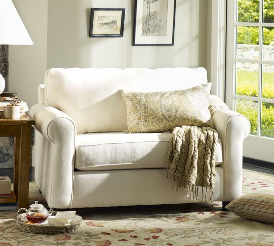 Buchanan Roll Arm Upholstered Twin Sleeper Sofa with Memory Foam Mattress