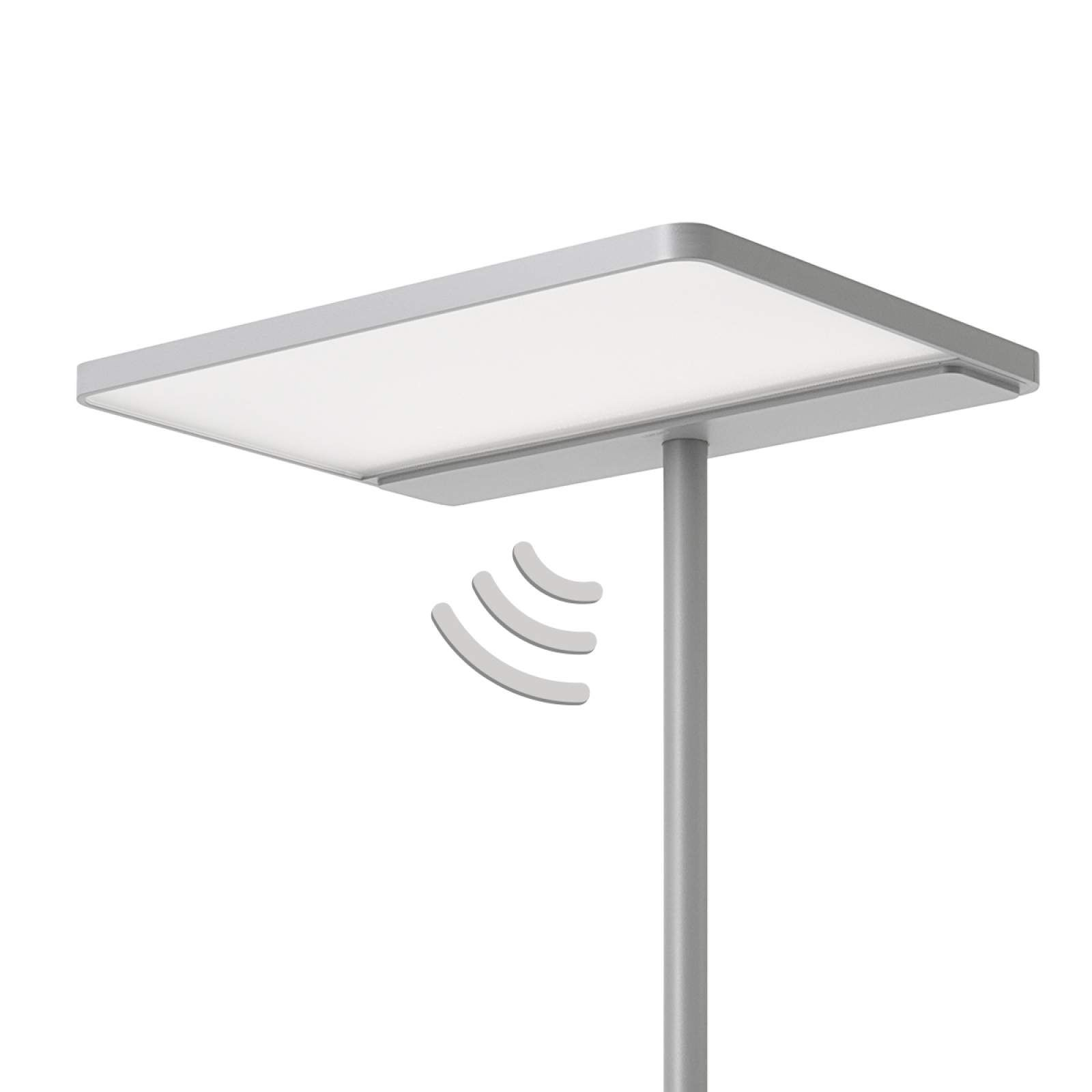 Büro-Stehlampe Linea-F mit Sensor grau