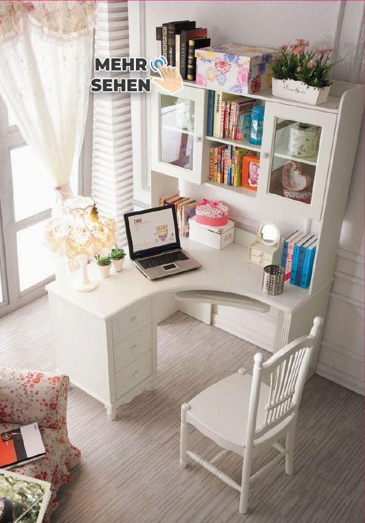 Büroeinrichtung, Weißer Eckschreibtisch für das kleine Heimbüro: Weißer Eck… – https://pickndecor.com/dekor