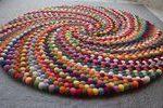 Bunte Filzkugel Runde Teppich Multi Farbe Kinderzimmer Teppich handgefertigt 100...,  #Bunte ...