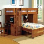 CM-BK529OAK Harford i oak finish twin over twin loft bunk bed desk and chair