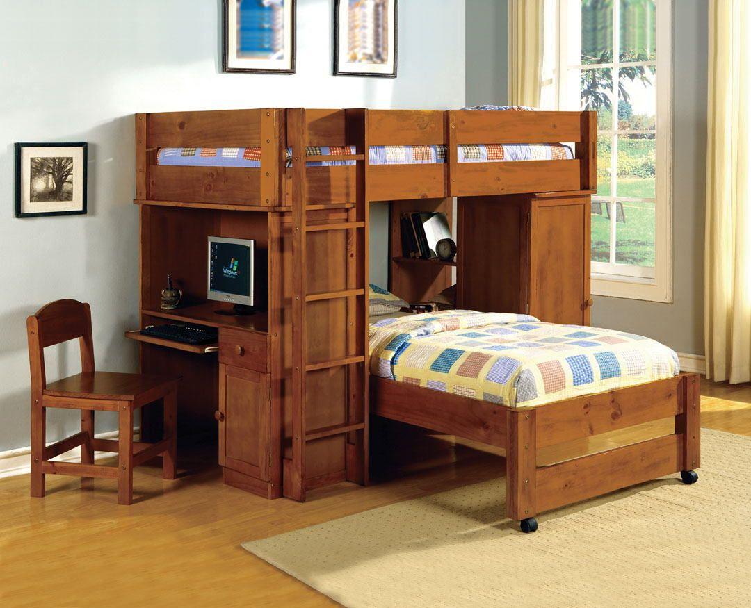 CM-BK529OAK Harford i oak finish twin over twin loft bunk bed desk and chair