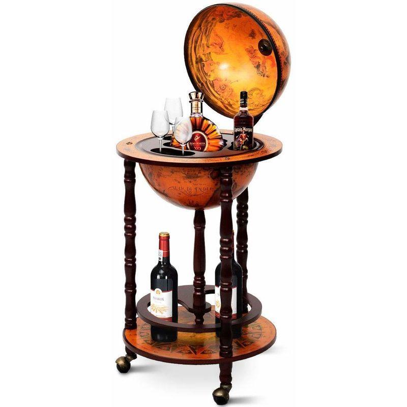 COSTWAY Globusbar Minibar Weltkugel Weinregal Flaschenregal Globus Bar Hausbar Cocktailbar Dekobar Tischbar mit Rollen – 0728370804072