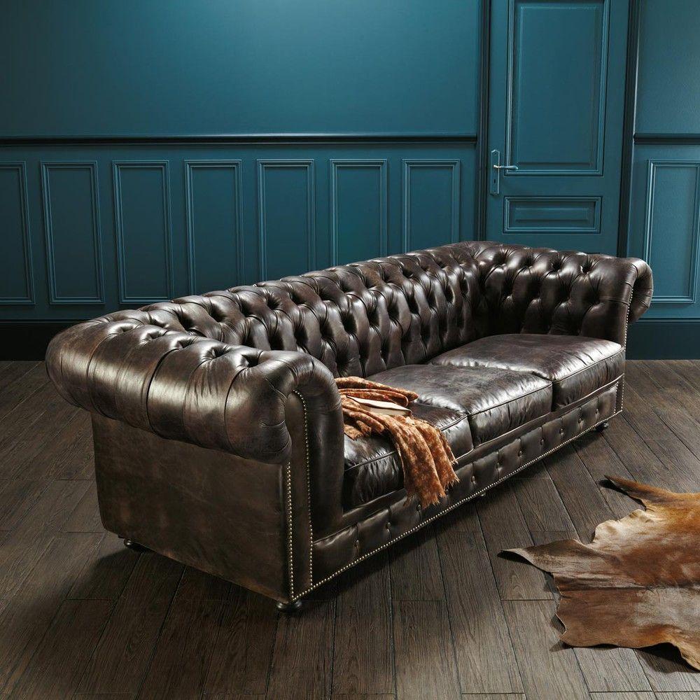 Canapé vintage 3 places en cuir capitonné | Maisons du Monde