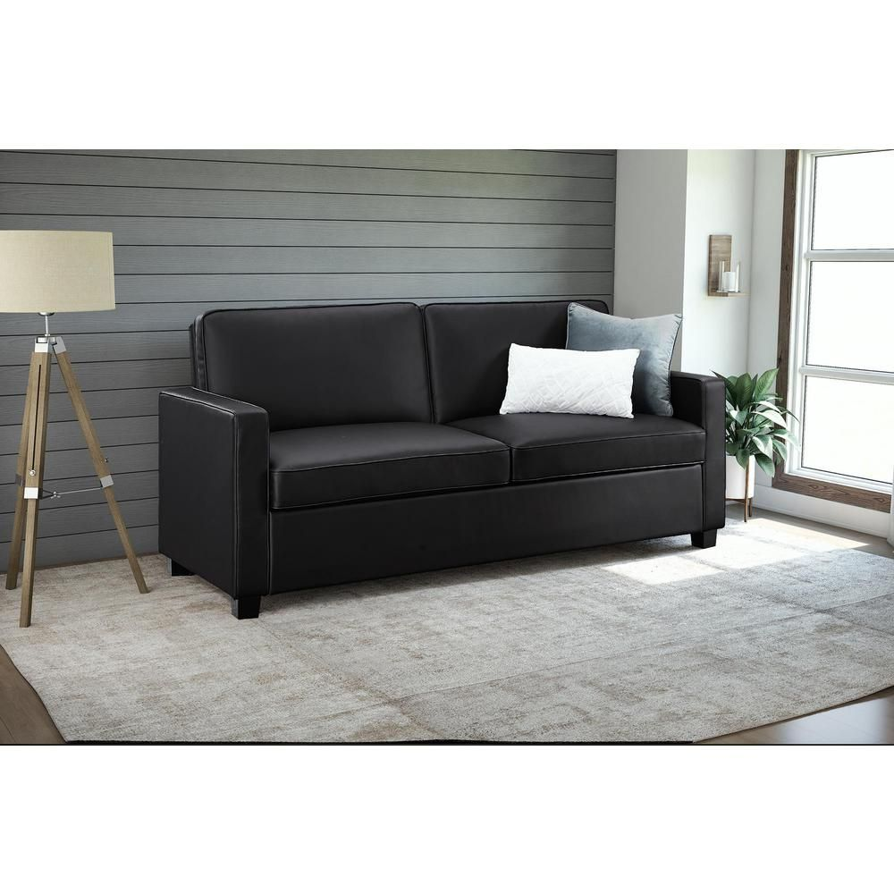 Casey Queen Size Black Faux Leather Sleeper Sofa 2152007 – The Home Depot