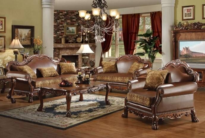 Cherry Oak & Brown Faux Leather Sofa Dresden-15160 Acme Traditional (Dresden-15160) Buy online!