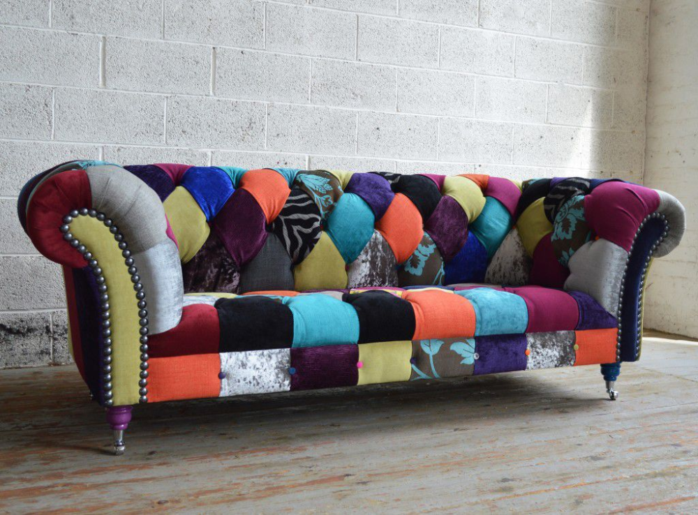 Chesterfield sofa / chromed metal …