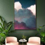 Cloud Art Peinture, Aquarelle, Encre, Scandinave, Scandi, Art de la chambre de bébé, Art mural - Toile READY TO HANG - Peinture