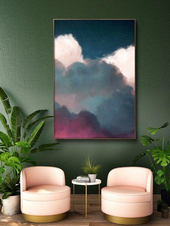 Cloud Art Peinture, Aquarelle, Encre, Scandinave, Scandi, Art de la chambre de bébé, Art mural – Toile READY TO HANG – Peinture
