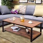 Coffee table metal frame rectangle accent cocktail living room furniture