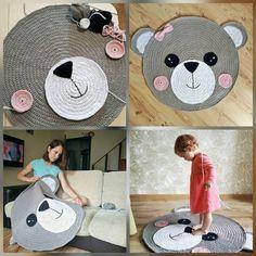 Crochet Rug – Bear Rug – Children Carpet – Handmade Rug – Crochet Animals – Nursery Decor