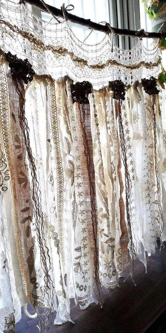 Custom French Shabby Chic Vintage Crochet Lace Burlap Curtain  Rustic Romantic ANTIQUE Lace Kitchen Valance bathroom window Treatment