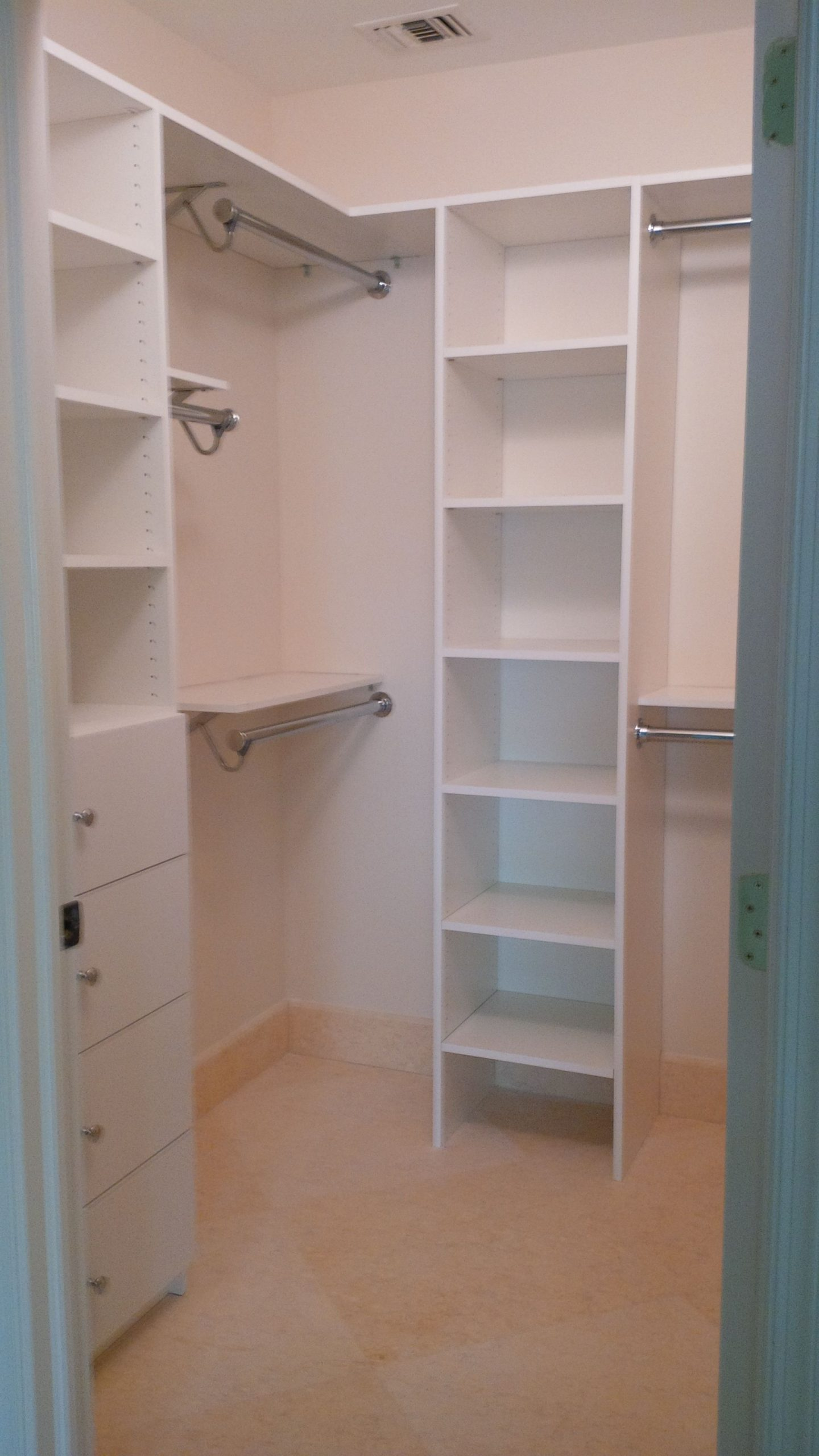 Custom Melamine Closet System combined with a Shelf and Rod Closet System