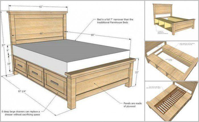 DIY Bauernhaus-Speicherbett mit Speicherfächern#design #designer #designs #desi…