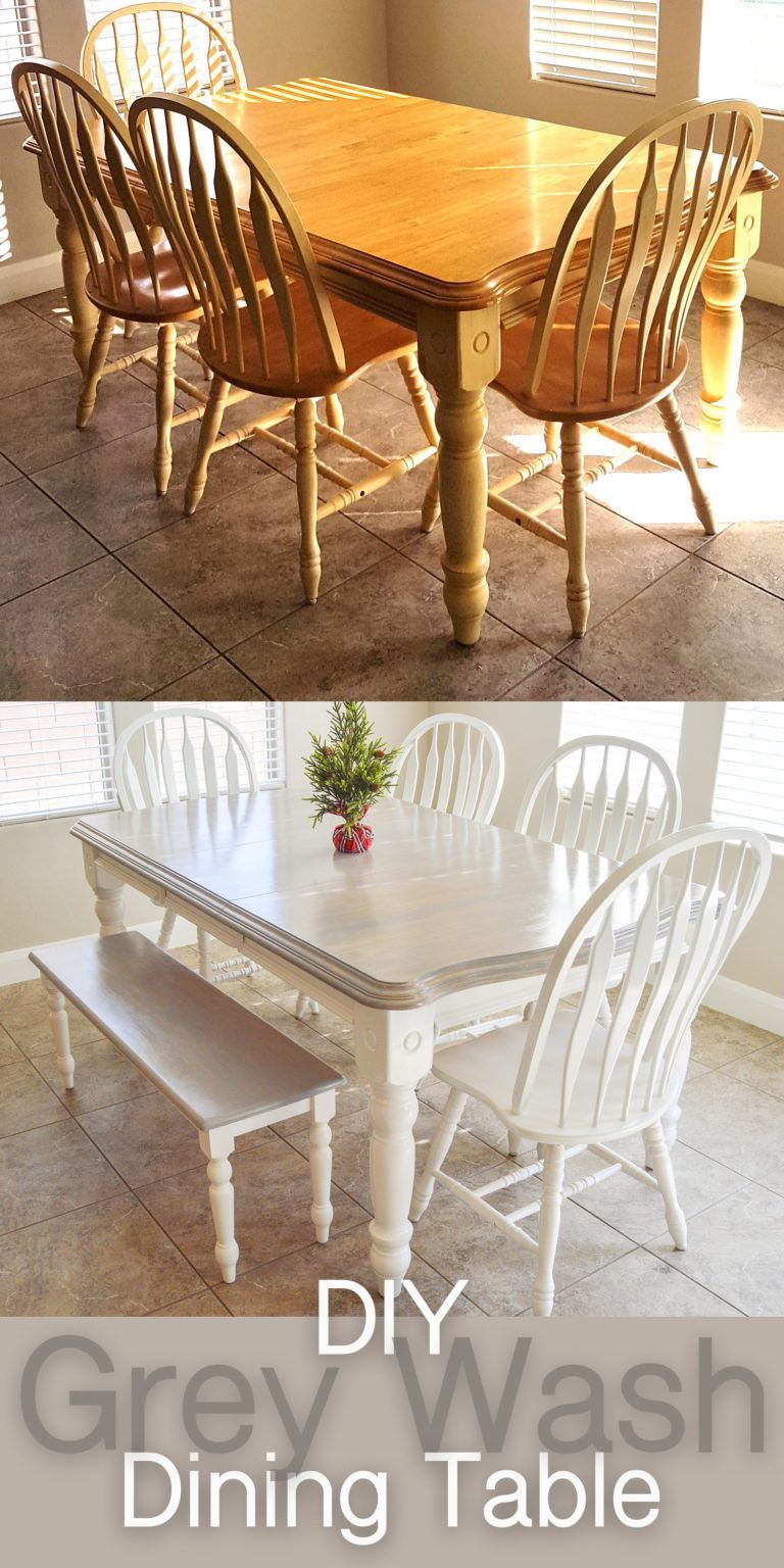 DIY Grey Paint Wash Dining Table & Chairs – The DIY Lighthouse