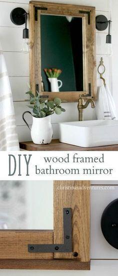 DIY wood framed bathroom mirror – Christinas Adventures