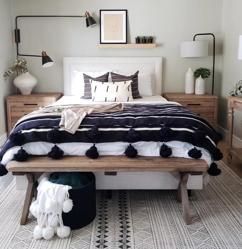 Danette Border Linen Upholstered Standard Bed