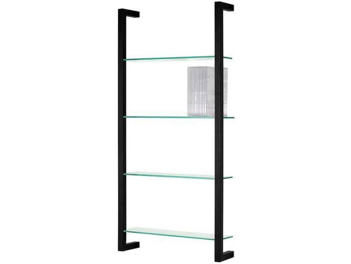 Deko Hängeregal aus Stahl in Schwarz Glasböden