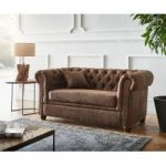 Delife Sofa Chesterfield 146x88 Braun Wildlederoptik 2-Sitzer Couch, Chesterfields DeLifeDeLife