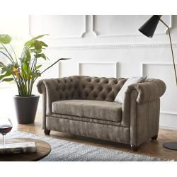 Delife Sofa Chesterfield 146×88 Taupe Wildlederoptik 2-Sitzer Couch, Chesterfields DeLifeDeLife