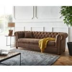 Delife Sofa Chesterfield 200x88 Braun Antik Optik 3-Sitzer Couch, Chesterfields DeLifeDeLife