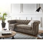 Delife Sofa Chesterfield 200x88 Taupe Wildlederoptik 3-Sitzer Couch, Chesterfields DeLifeDeLife
