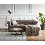 Delife Sofa Chesterfield 209x160 cm Taupe Abgesteppt Ottomane Rechts, Chesterfields DeLifeDeLife
