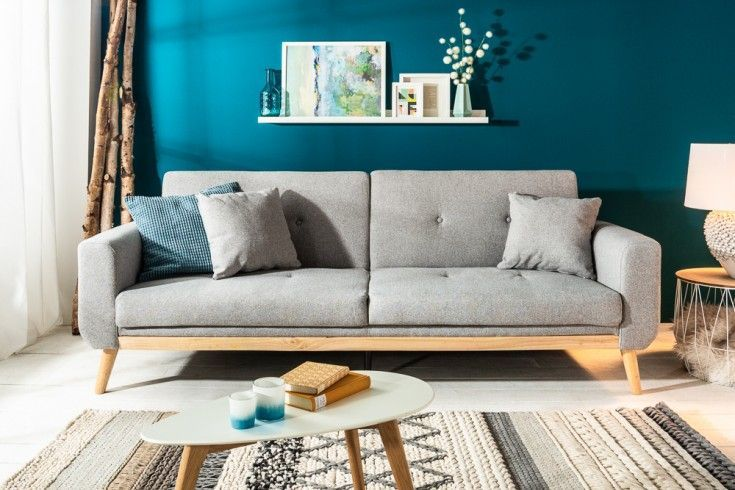 Design 3-Sitzer Schlafsofa SKAGEN 215cm hellgrau Scandinavian Design Bettfunktion | Riess-Ambiente.de – https://bingefashion.com/haus