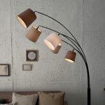 Design Bogenlampe LEVELS 200cm weiß beige braun 5 Leinen Schirmen Stehlampe | Riess-Ambiente.de